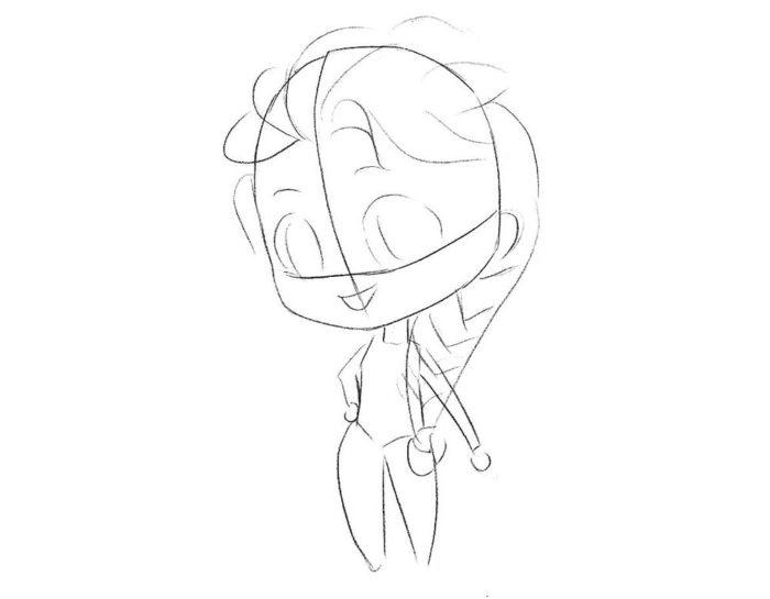 Как нарисовать чиби Эльзу 3