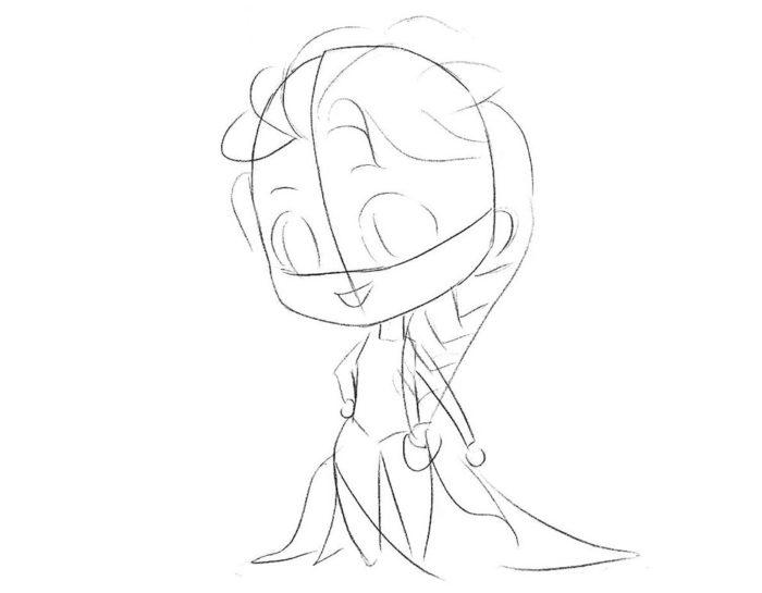 Как нарисовать чиби Эльзу 4