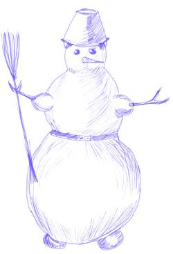 Снеговик нарисовать