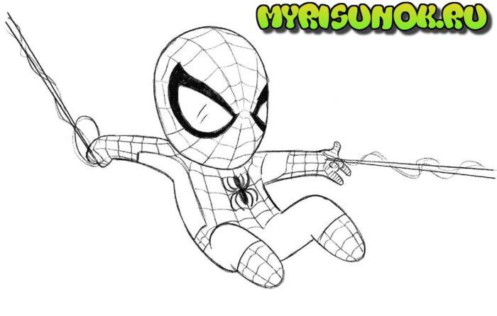 Как нарисовать чиби Человека Паука