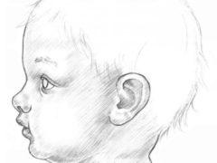 Рисуем лицо ребенка в профиль