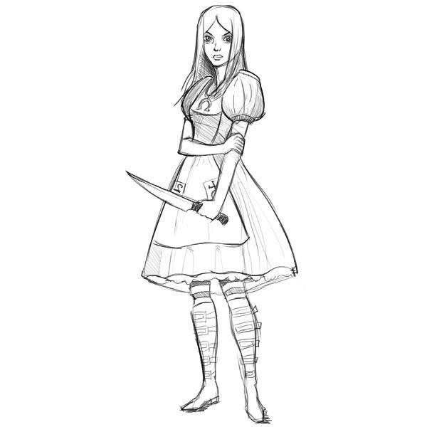 как нарисовать алису в стране чудес