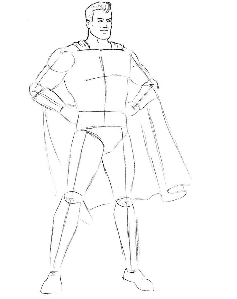 Как нарисовать Супермена 5