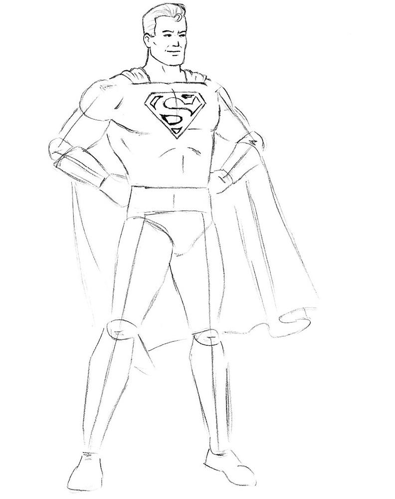 Как нарисовать Супермена 6