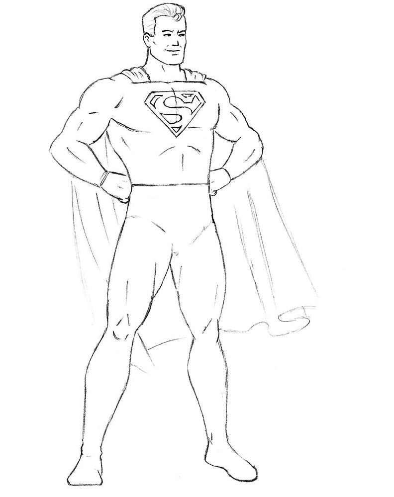 Как нарисовать Супермена 8