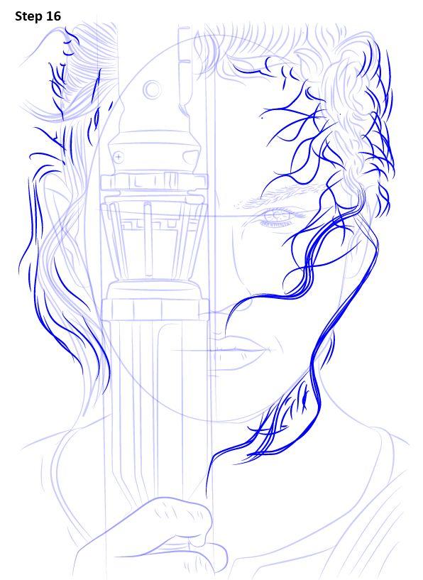 Как нарисовать Рей из Звездных войн
