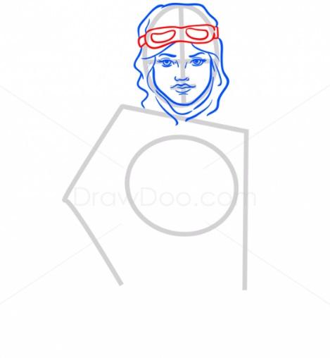 Как нарисовать Рей из ЗВ5