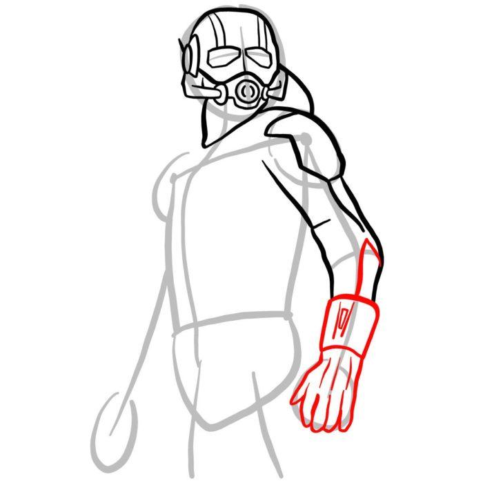 как поэтапно нарисовать Человека муравья 6