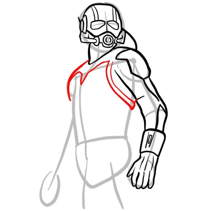 как поэтапно нарисовать Человека муравья 7