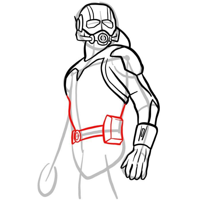 как поэтапно нарисовать Человека муравья 8