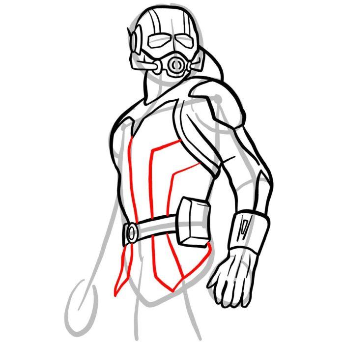 как поэтапно нарисовать Человека муравья 9