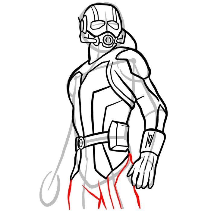 как поэтапно нарисовать Человека муравья 10
