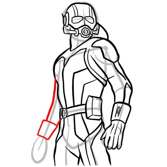 как поэтапно нарисовать Человека муравья 11