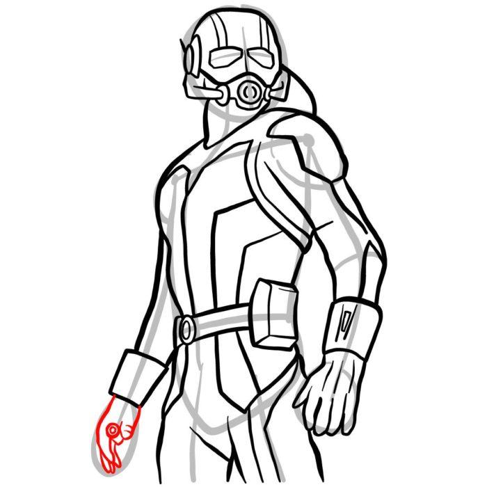 как поэтапно нарисовать Человека муравья 12