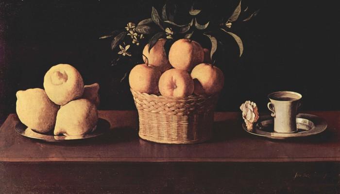 Франсиско де Сурбаран. Натюрморт с лимонами, апельсинами и розой. 1633