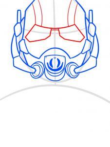 как нарисовать маску Человека муравья 5
