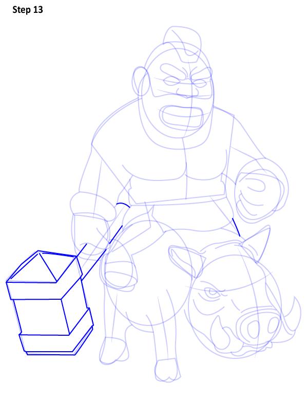 Как нарисовать всадника на кабане
