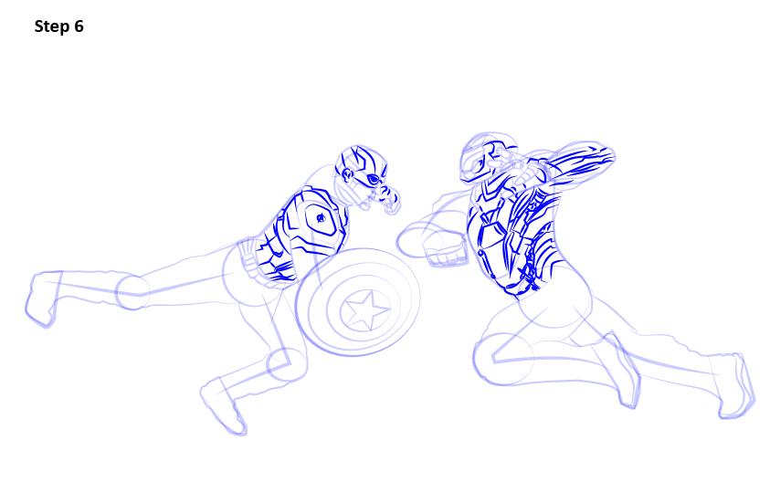 Как нарисовать Железного человека и Капитана Америку