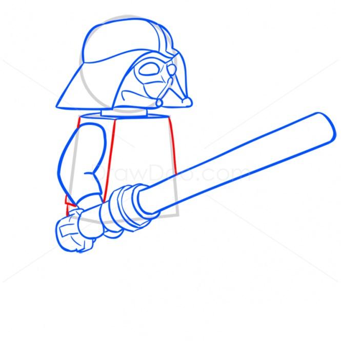 Как нарисовать Дарта Вейдера лего