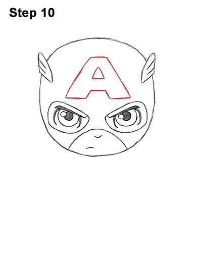 Как нарисовать мини Капитана Америку 10