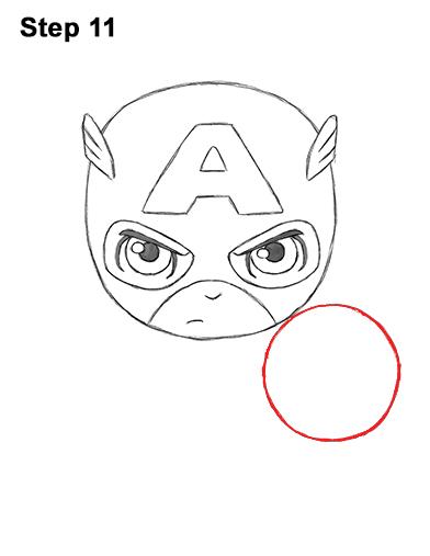 Как нарисовать мини Капитана Америку 11