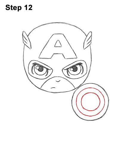 Как нарисовать мини Капитана Америку 12