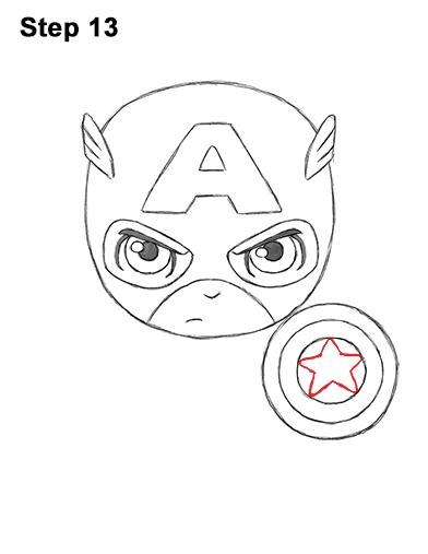Как нарисовать мини Капитана Америку 13
