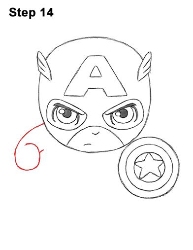 Как нарисовать мини Капитана Америку 14