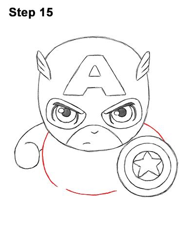 Как нарисовать мини Капитана Америку 15