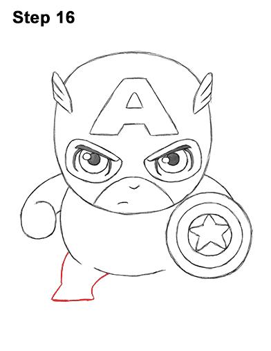 Как нарисовать мини Капитана Америку 16