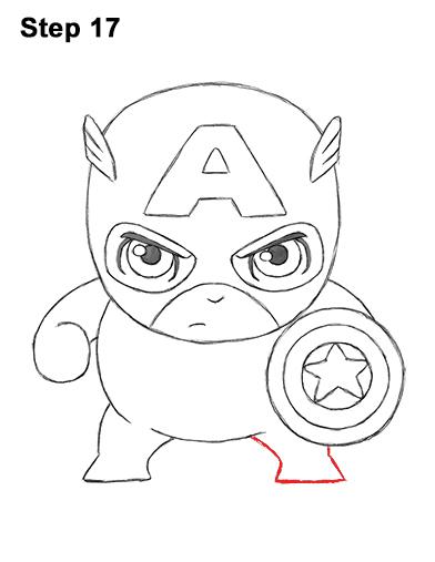 Как нарисовать мини Капитана Америку 17