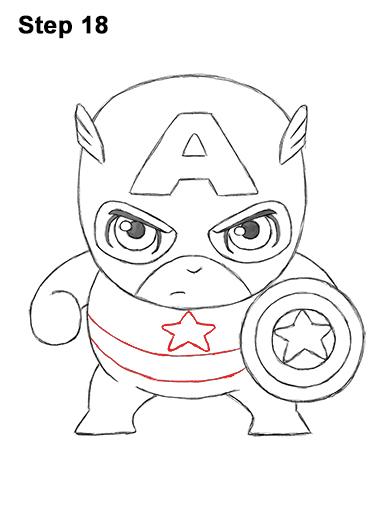Как нарисовать мини Капитана Америку 18