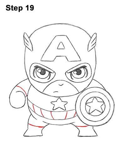 Как нарисовать мини Капитана Америку 19