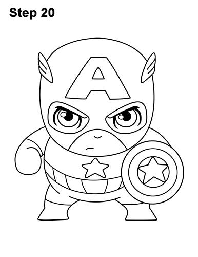 Как нарисовать мини Капитана Америку 20