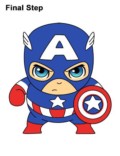 Как нарисовать мини Капитана Америку 21