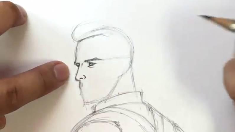Как нарисовать Капитана Америку из Войны Бесконечности 12