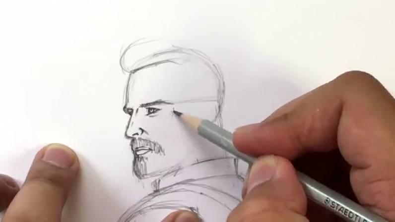 Как нарисовать Капитана Америку из Войны Бесконечности 14