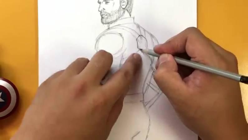 Как нарисовать Капитана Америку из Войны Бесконечности 20