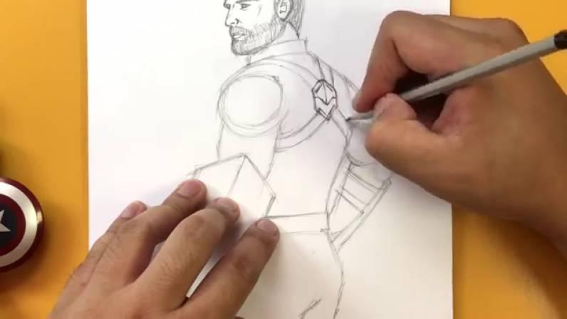 Как нарисовать Капитана Америку из Войны Бесконечности 21