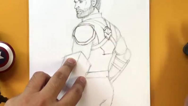 Как нарисовать Капитана Америку из Войны Бесконечности 22