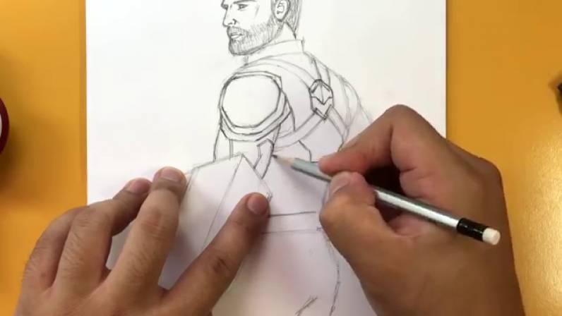 Как нарисовать Капитана Америку из Войны Бесконечности 23