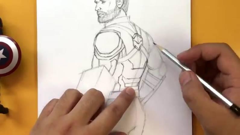 Как нарисовать Капитана Америку из Войны Бесконечности 24