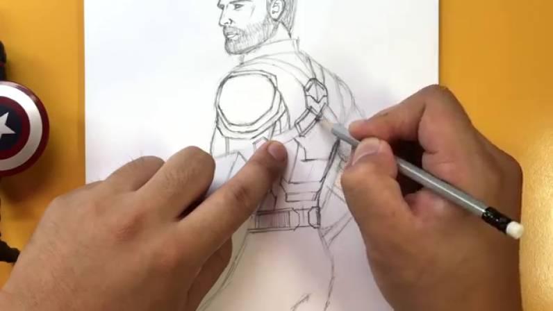 Как нарисовать Капитана Америку из Войны Бесконечности 25