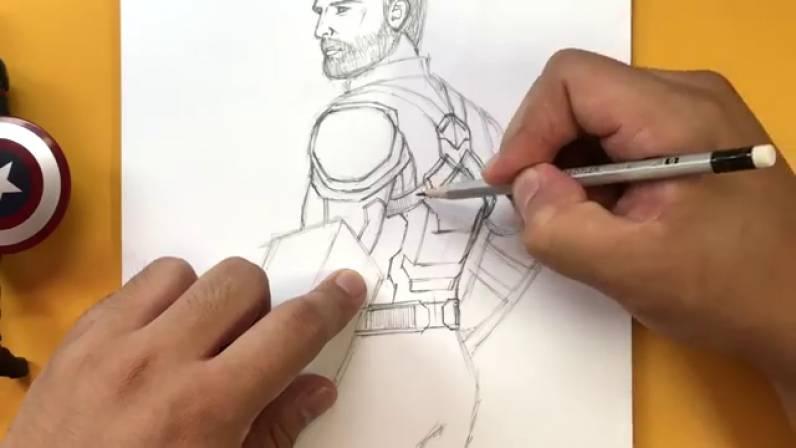 Как нарисовать Капитана Америку из Войны Бесконечности 26