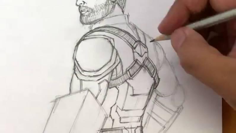 Как нарисовать Капитана Америку из Войны Бесконечности 27