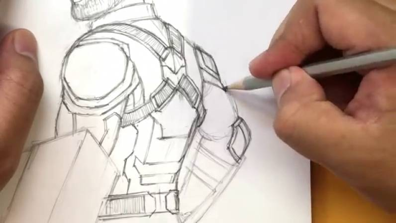 Как нарисовать Капитана Америку из Войны Бесконечности 29