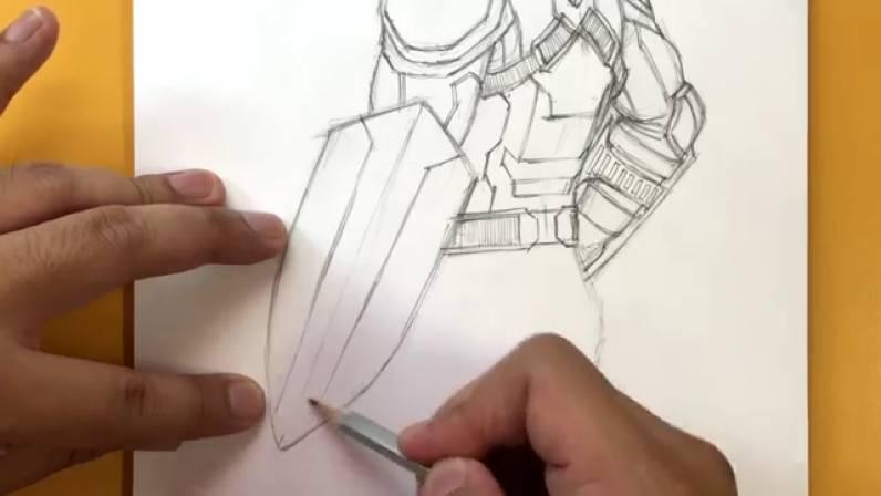 Как нарисовать Капитана Америку из Войны Бесконечности 32