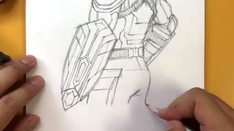 Как нарисовать Капитана Америку из Войны Бесконечности 37