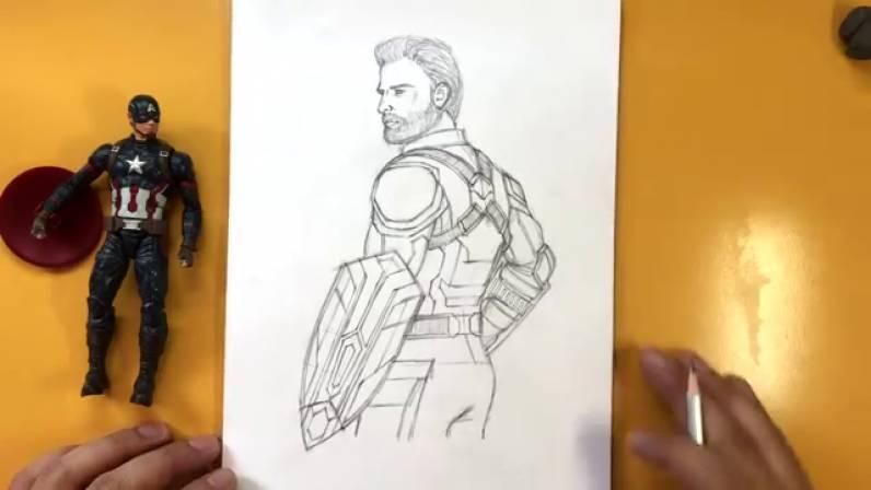 Как нарисовать Капитана Америку из Войны Бесконечности 38