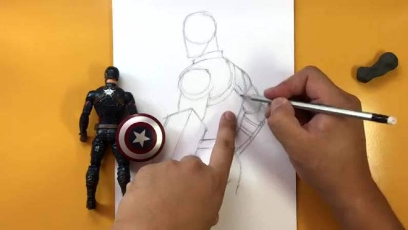 Как нарисовать Капитана Америку из Войны Бесконечности 8